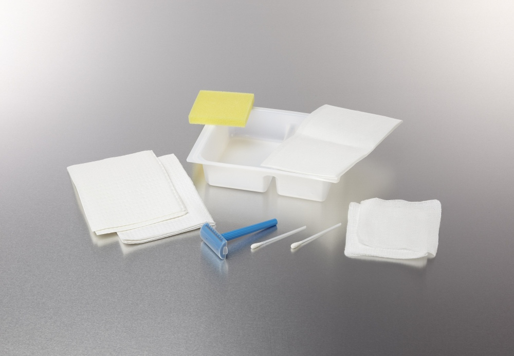 Medline Dual Compartment Shave Prep Tray - 2Compartments, Box of 50 - Model DYND70820