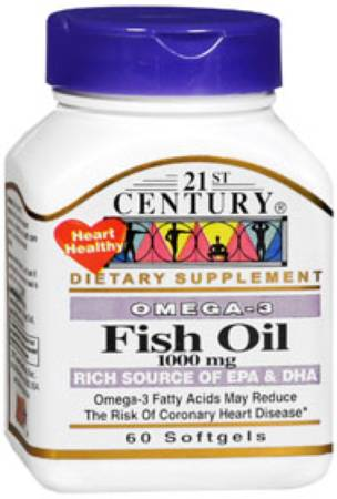 21 Century Nutritional Products 21st Century Fish Oil, 1000 mg Softgel 60 per Bottle - Model 74098521495