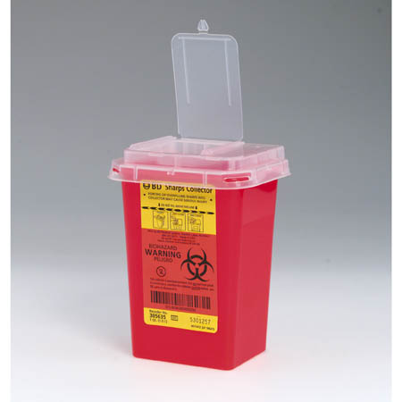 B-D Dual Access Sharps Containers, 1 Quart, Red - Model 305635, Each