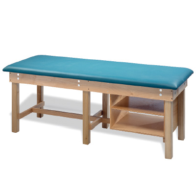Bariatric Treatment Table with Shelves - BLUE NCAB W/ NOSE CUT OUT & ADJ. BACK - Model 926902BY