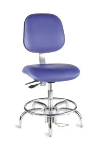 BioFit Cleanroom/ESD Chairs, 4V Series - Class 10 Cleanroom Chairs, Model EET172CRC104, Each