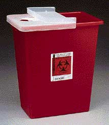 Containers with Hinged Lid, With Clear Lid - Covidien Sharps Disposal Containers, Large Volume