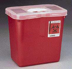 Containers with Rotor Lid, Red with Clear Lid, Rectangular - Covidien Sharps Disposal Containers
