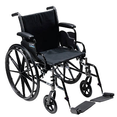Cruiser III Lightweight, Dual Axle Wheelchair - Full Arms, 18 x 16, Footrests - Model 565470