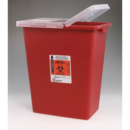 Large Volume Sharps Containers - BIOMAX Container w/ Hinged, Sealing Gasket Lid