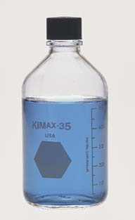Kimble Chase KIMAX Media/Storage Bottles, KG-35 Borosilicate Glass, Graduated, Model 61110T 125