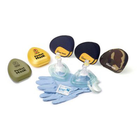 Laerdal Pocket Mask - Mask w/O2 inlet, strap, gloves, wipe, blue softpack - Model 830040, Each
