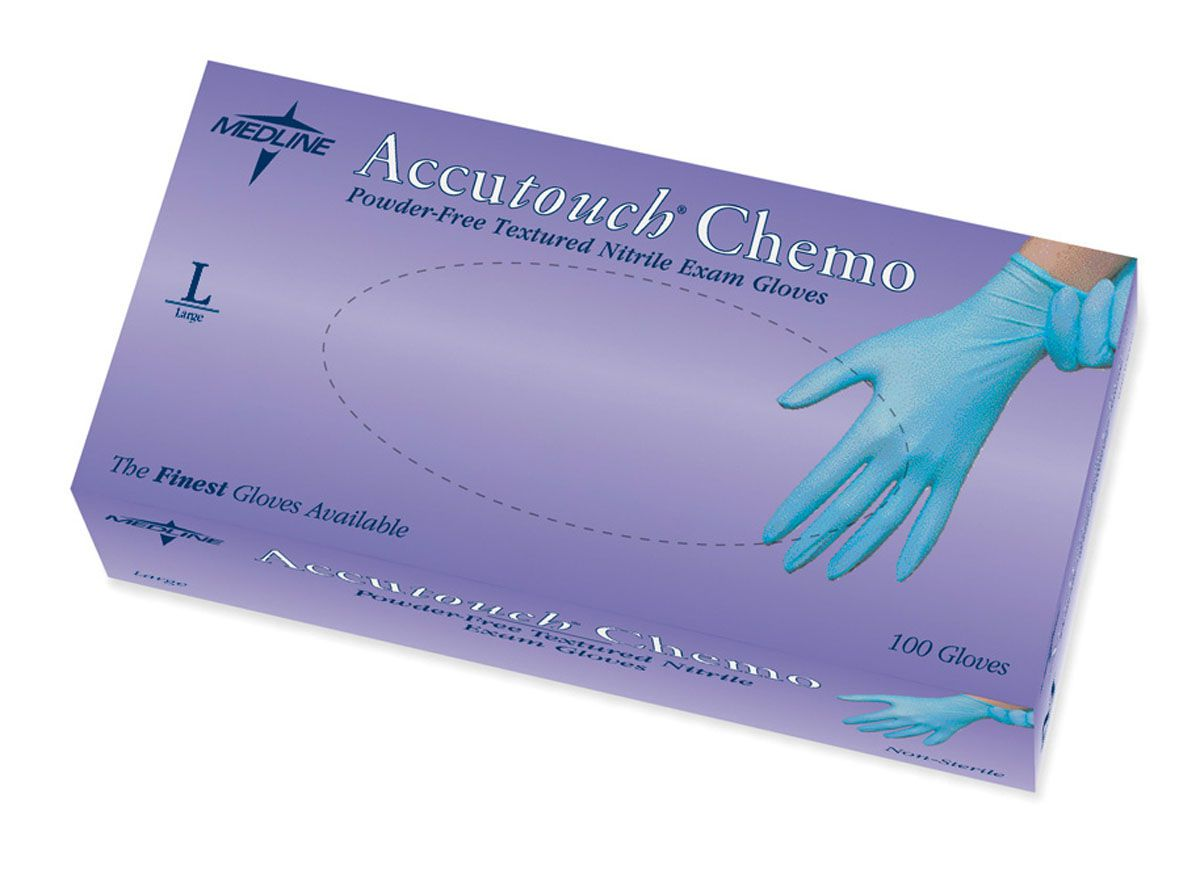 Accutouch Powder-Free Latex-Free Nitrile Exam Glove - Chemo, Blue, Pf, Lf, Lg, Box of 100