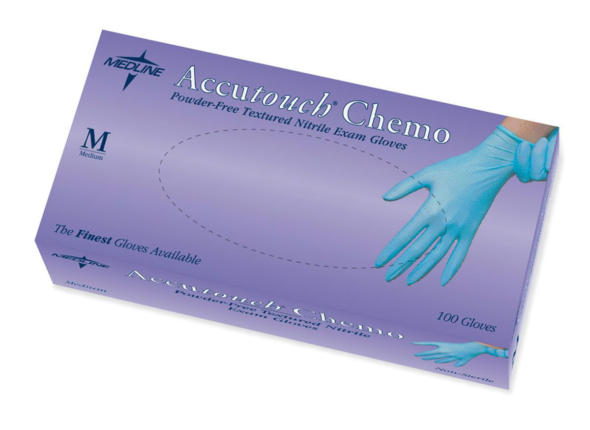Accutouch Powder-Free Latex-Free Nitrile Exam Glove - Chemo, Blue, Pf, Lf, Md, Box of 100