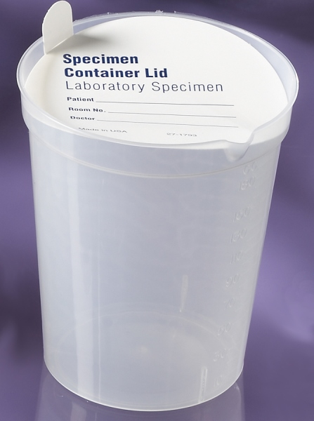 Medline Deluxe Urinalysis Container - Clear Plastic (with pre-printed lids) - Qty of 500