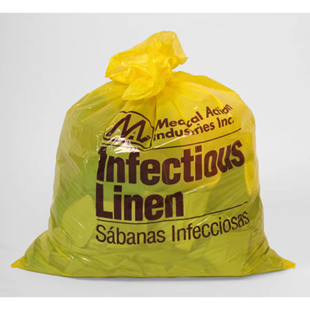 Moore Medical Infectious Linen Bags, 30 Gallon 1.2 mil, Yellow, Case of 250