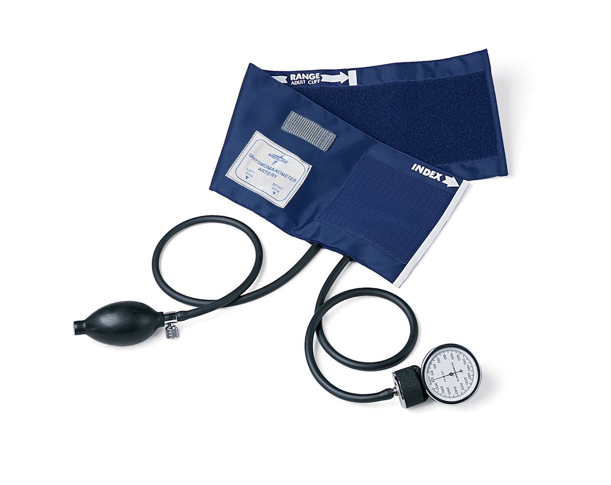 Medline PVC Handheld Aneroid Sphygmomanometer - Hand Held, Adult, Each - Model MDS9380