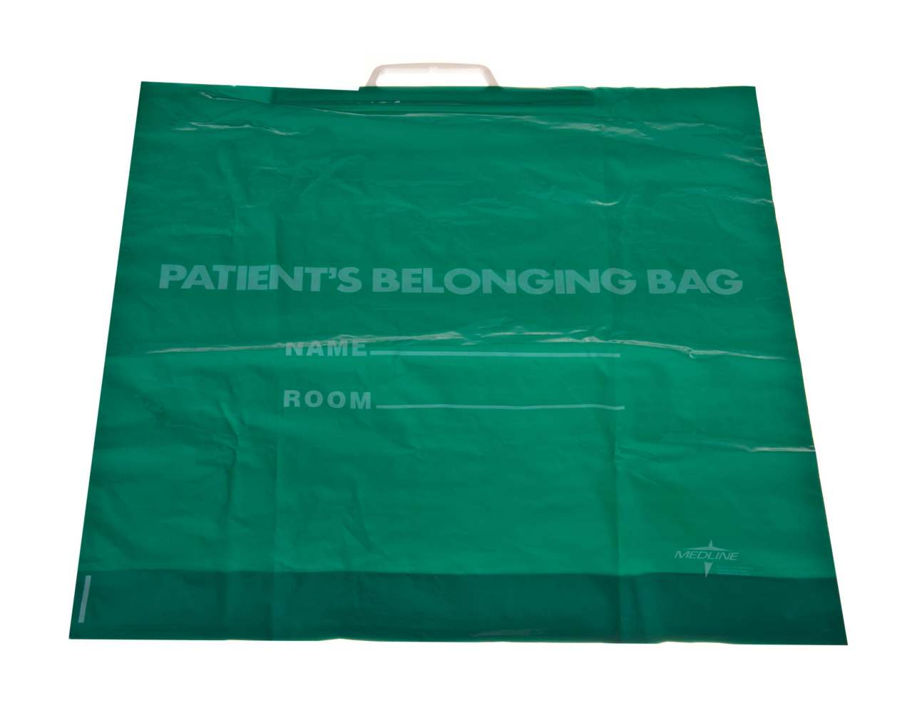 Rigid Handle Plastic Bag - Patient, Belonging, Rgd Hdl, Drk Green, Box of 250 - Model NON026320GR