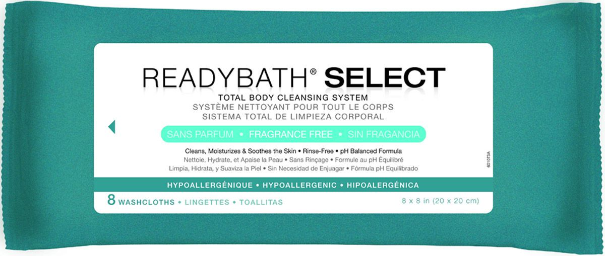 ReadyBath SELECT Total Body Cleansing Medium Weight Washcloth - Frag Free, Box of 30