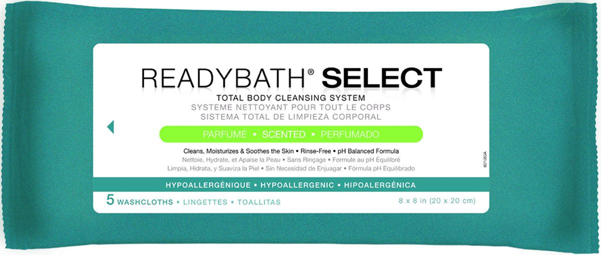 ReadyBath SELECT Total Body Cleansing Medium Weight Washcloth - Scented, Box of 30 - Model MSC095108