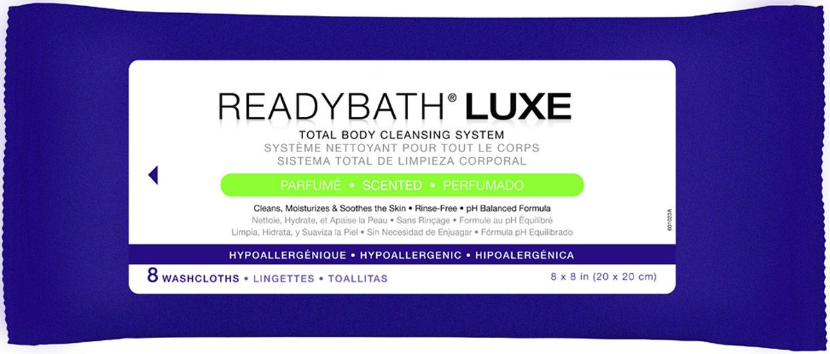 ReadyBath LUXE Total Body Cleansing Heavyweight Washcloth - Scented, Box of 24 - Model MSC095102