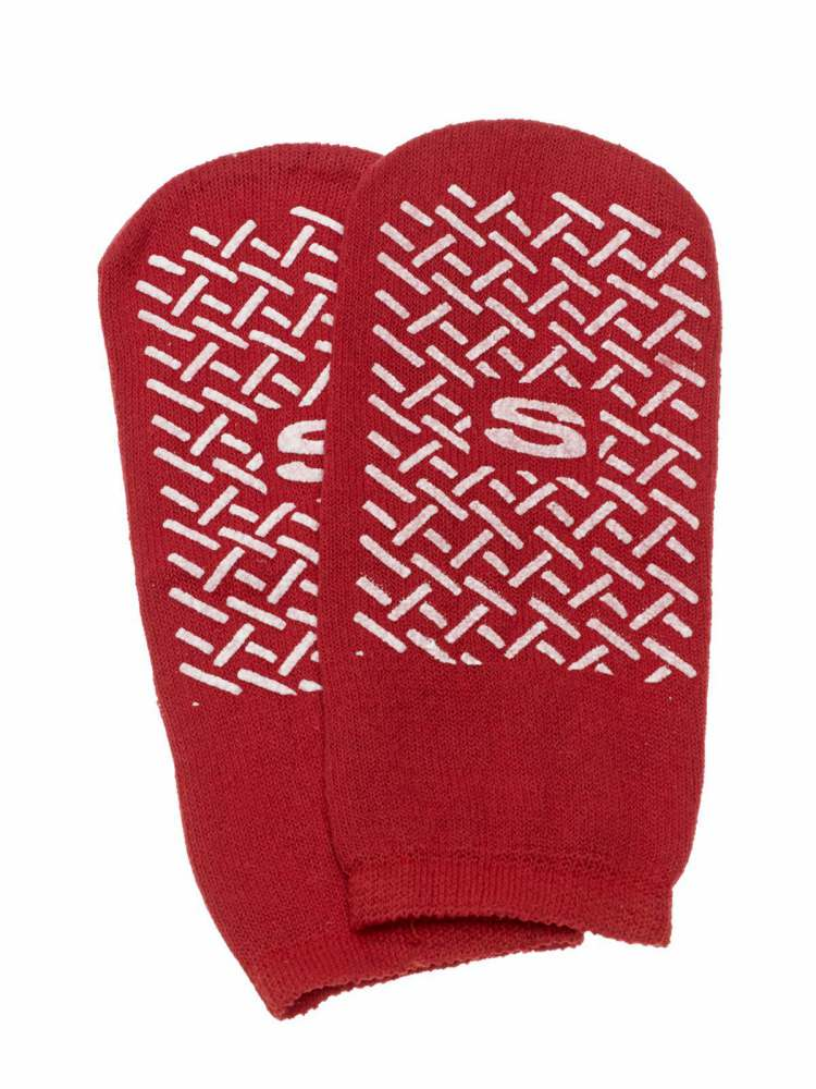 Medline Single-Tread Slipper - Single Tread, Small, Red, Box of 48 - Model MDT211218SI