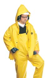 North Safety Three-Piece PVC/Polyester Rainsuits, Large, Model 85JPHL, Each