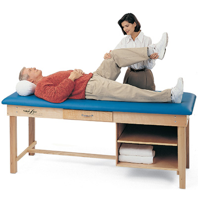 Treatment Table with Drawer and Shelves CBlue, NCAB W/ Nose Cut-Out & Adjustable - Model 6903BY