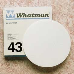 Whatman Grade 43 Quantitative Filter Paper, Ashless, Model 1443-125, Pack of 100