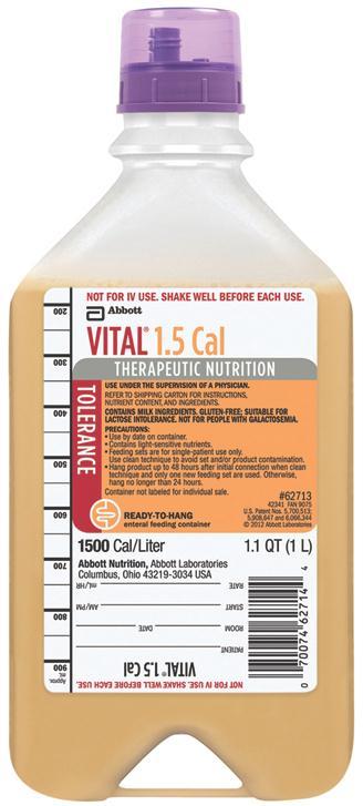 Abbott Vital 1 5 Cal Nutritional Supplement - 1000Ml Bottle, Rth, Box of 8  - Model 70074627137