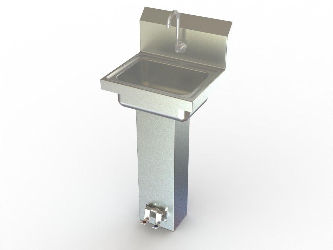 Aero Manufacturing Hand Sink - Pedestal Base, Foot Pedals, Ss, Each ...