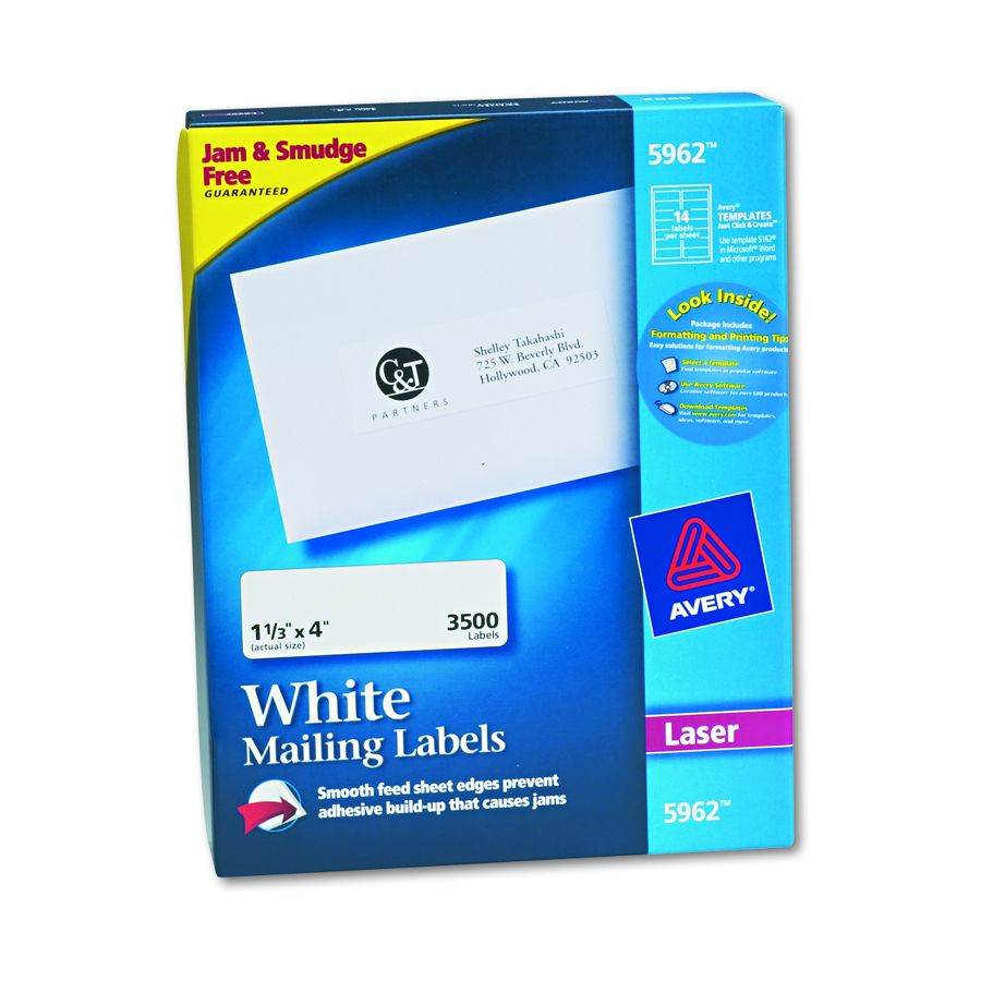 Avery dennison easy peel white address label addrs 1x2 for Avery 3x4 labels