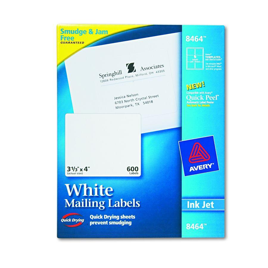Avery dennison easy peel white address label inkjet 1 for Avery 3x4 labels