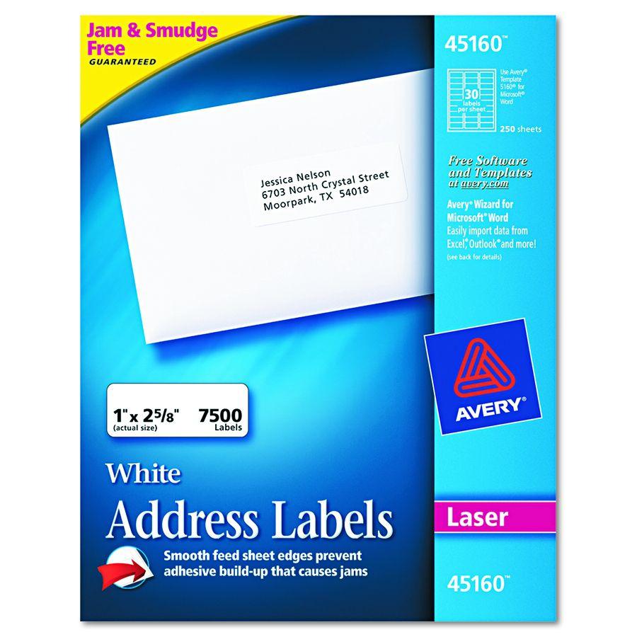 avery dennison easy peel white address label lsr 30 up wht box