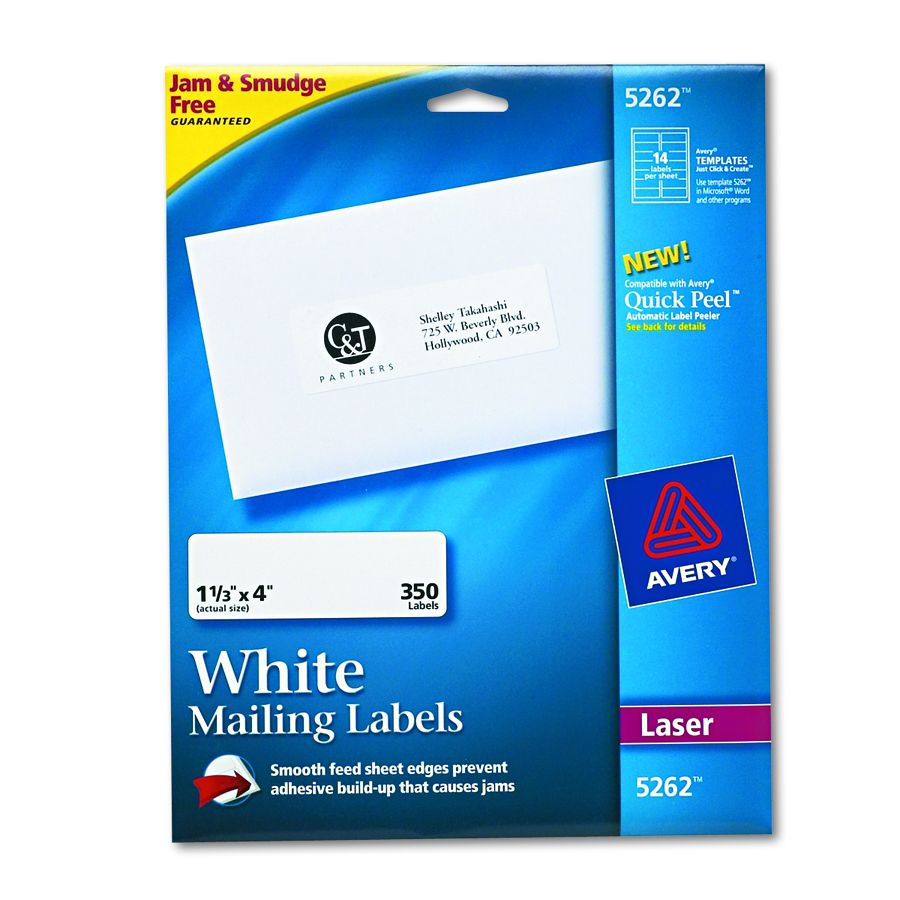 Avery dennison easy peel white address label w p 1 1 for Avery 3x4 labels