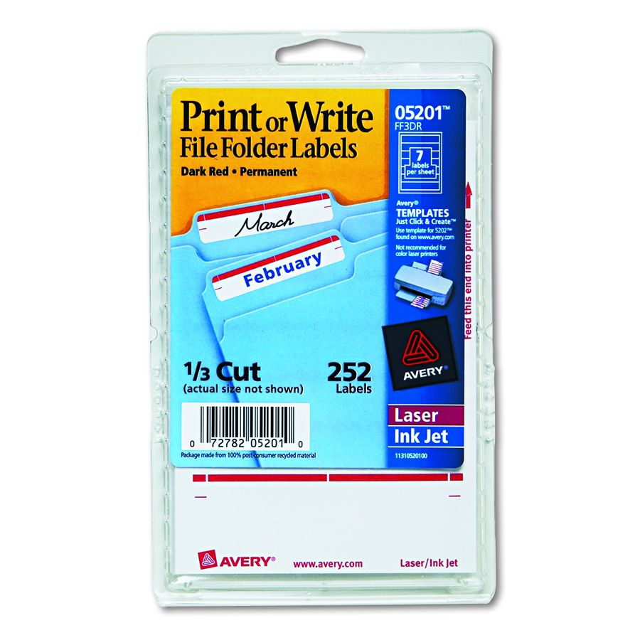 Avery Dennison File Folder Label Fldr Drd Pack Of 252 Model 5201