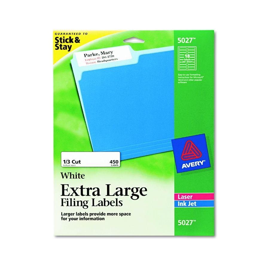 Avery-Dennison File Folder Label - Xl Ff 1/3 Cut, We, Pack of 450 - Model  5027