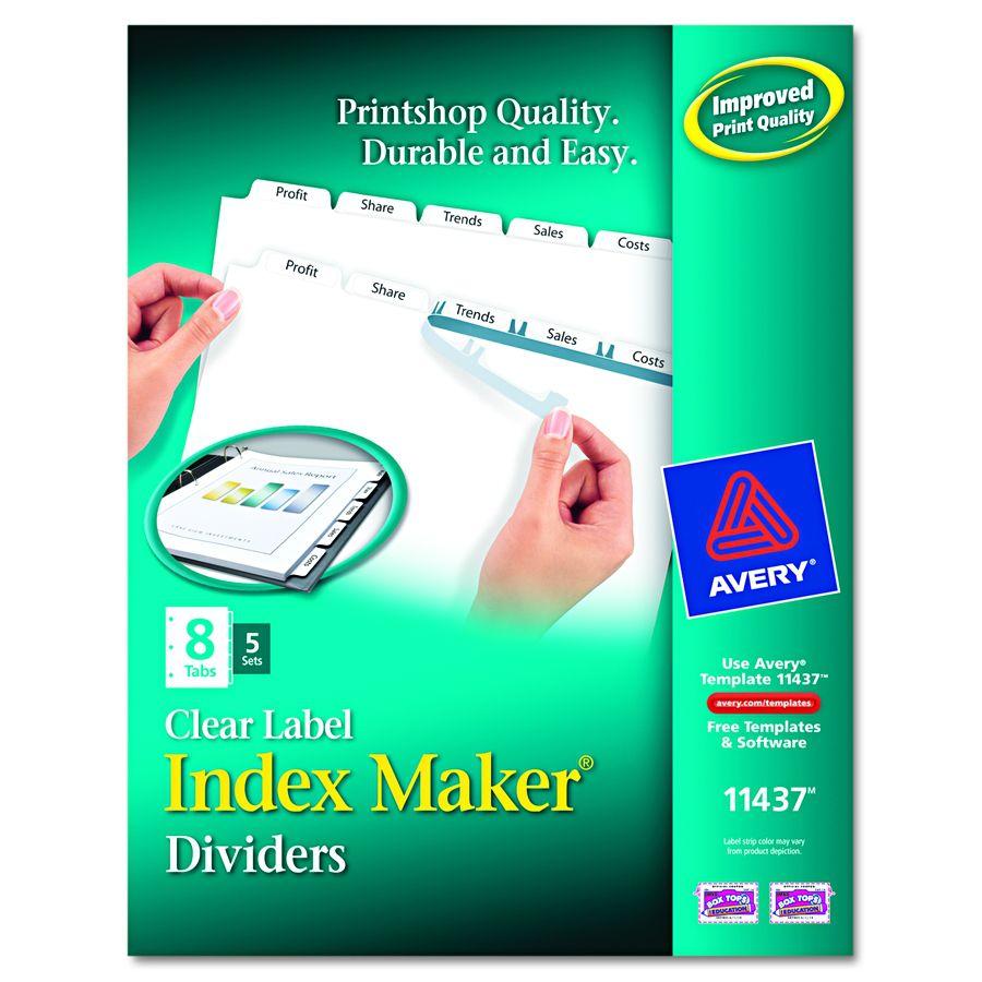 Avery-Dennison Index Maker Clear Label Divider - Lsr/Inj 5Tb