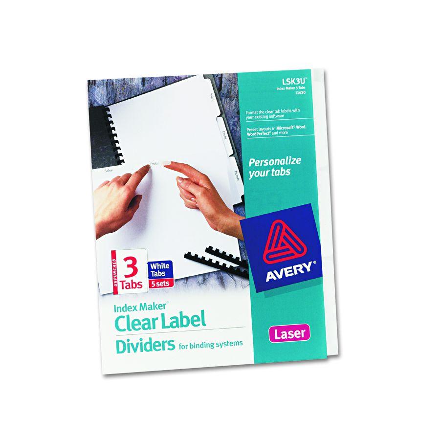 avery dennison index maker clear label divider unpnc 3tb pack of