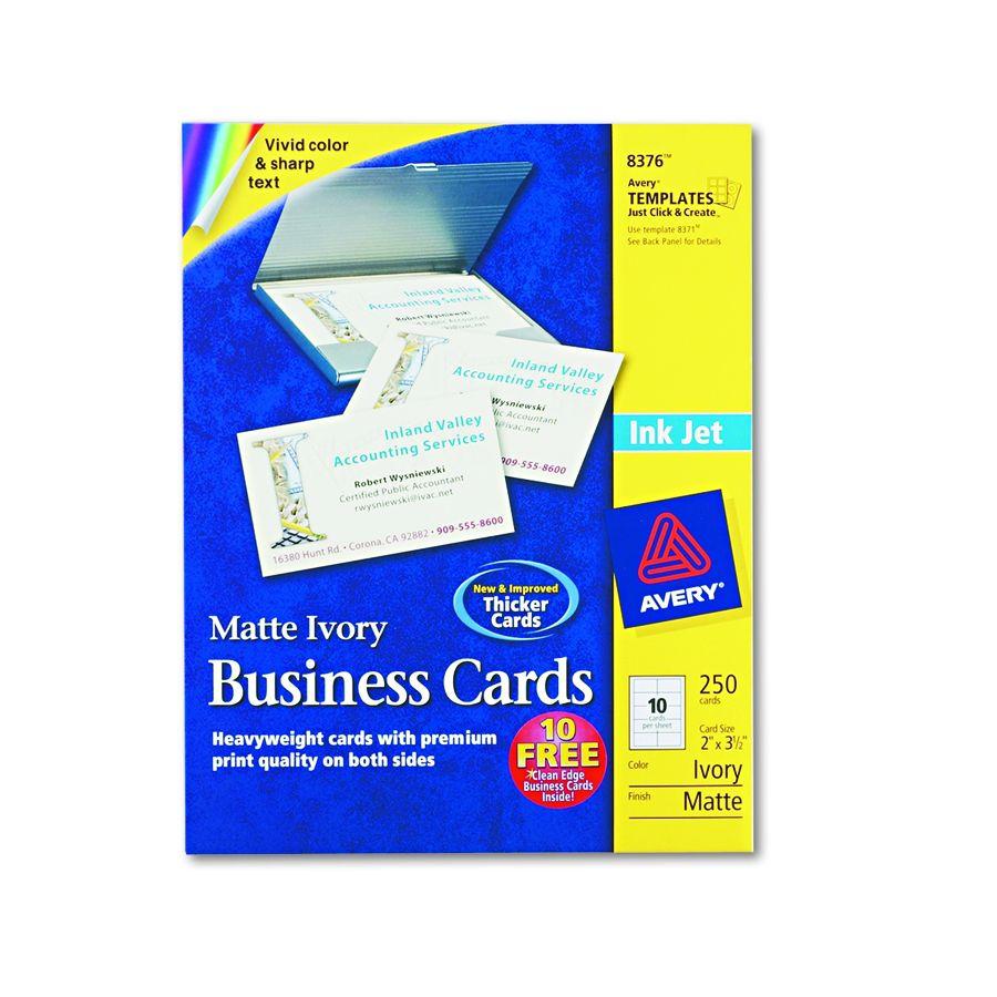 Avery-Dennison Inkjet Business Card - Iy, Pack of 250 - Model 8376