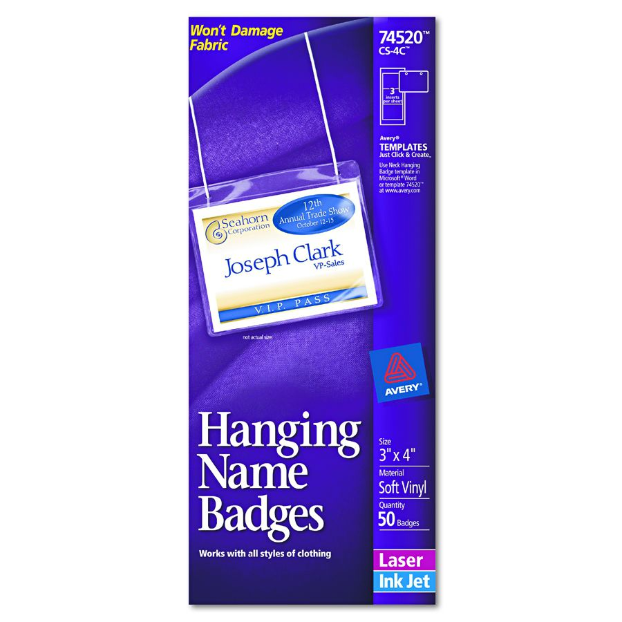Avery dennison insertable name badge kit hnging 3x4 box of 50 all images are supplied to us by the manufacturers and may not represent the specific product you are ordering this product may differ in color features saigontimesfo
