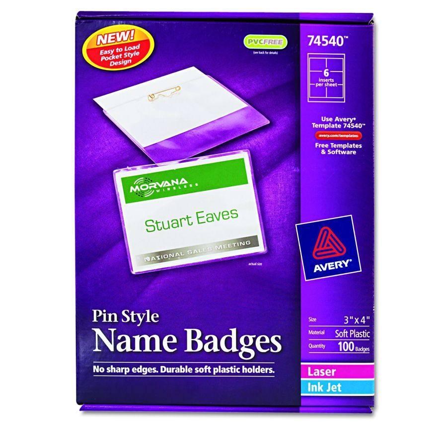 avery dennison insertable name badge kit holder badge pin 3x4