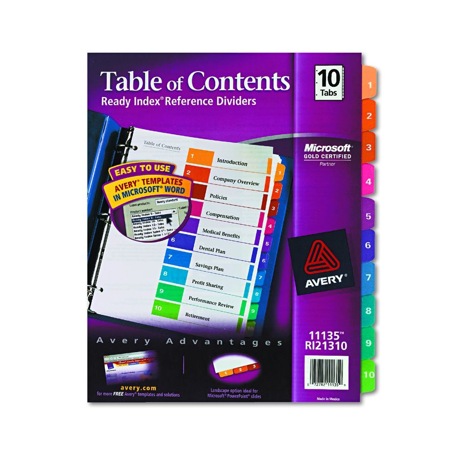 Avery dennison insertable tab divider index binder ltr for Avery table of contents template 10 tab