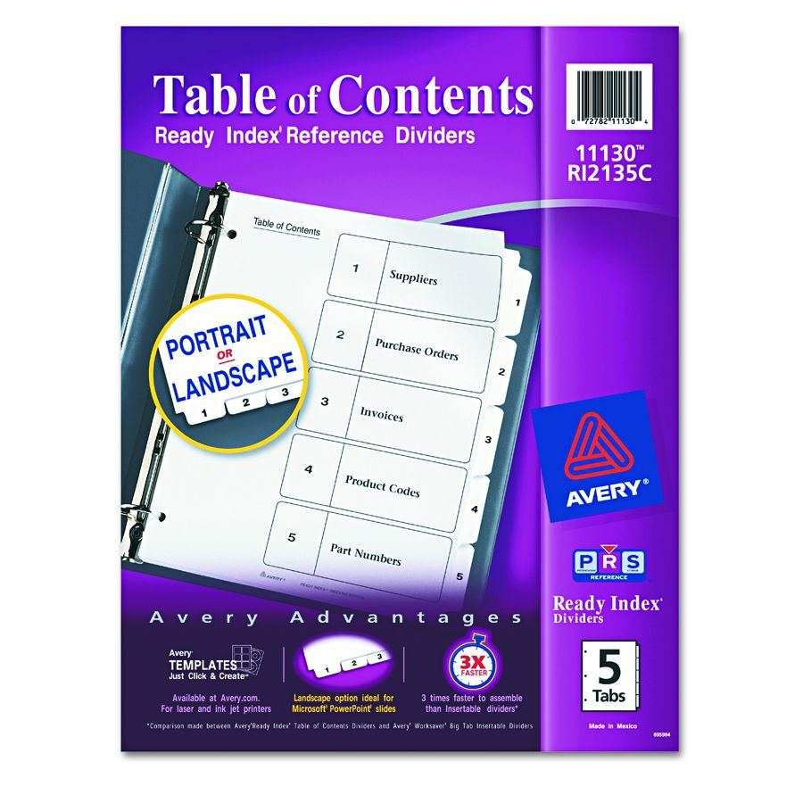 Avery dennison insertable tab divider index binder ltr for Avery ready index template 31 tab