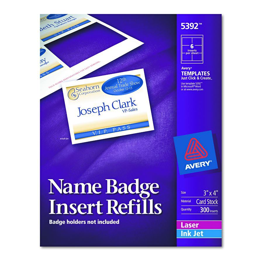 avery dennison name badge insert refill f 5384 nme tag 300 box