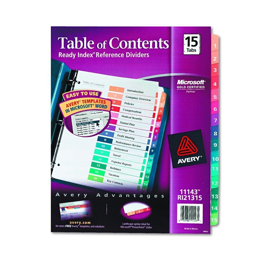 avery table of contents template 10 tab - avery dennison table of contents divider index binder