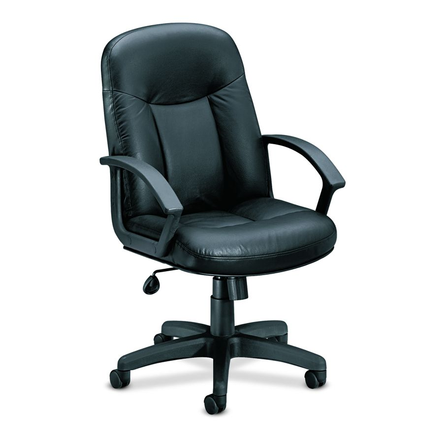 Basyx Swivel/Tilt Mid-Back Chair - Mgr, Swvl/Tlt, Lthr, Blk, Each - Model VL601ST11