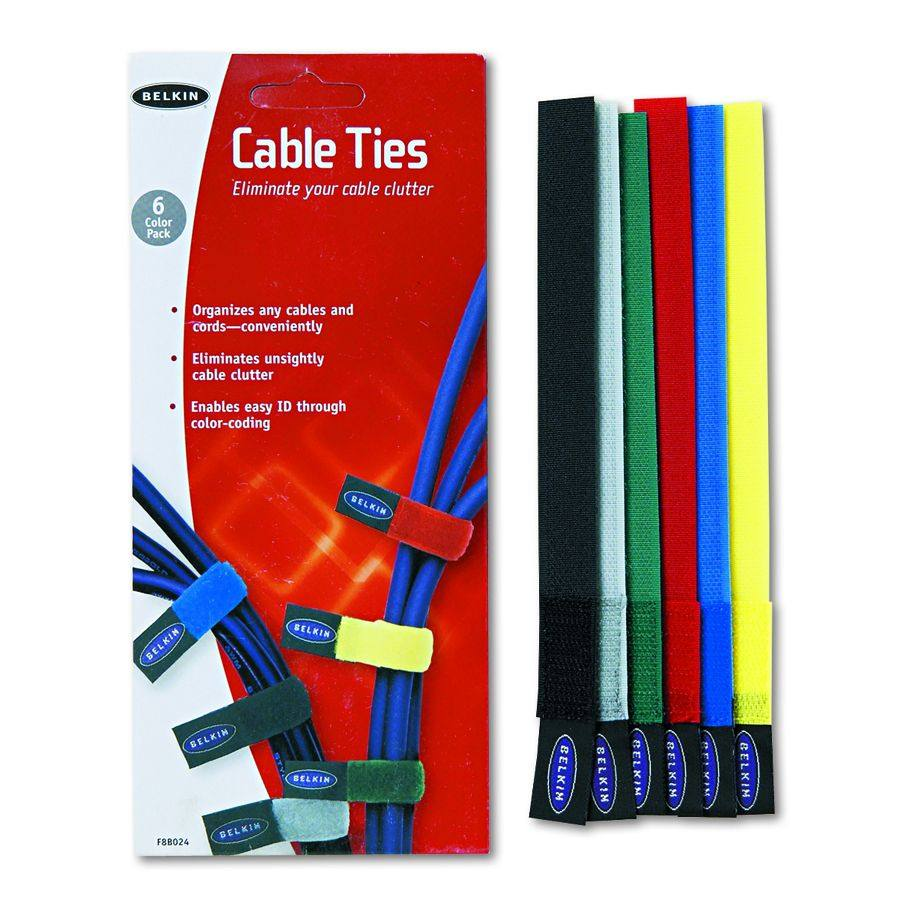 Belkin Cable Ties Organizer - Ast, Pack of 6 - Model F8B024