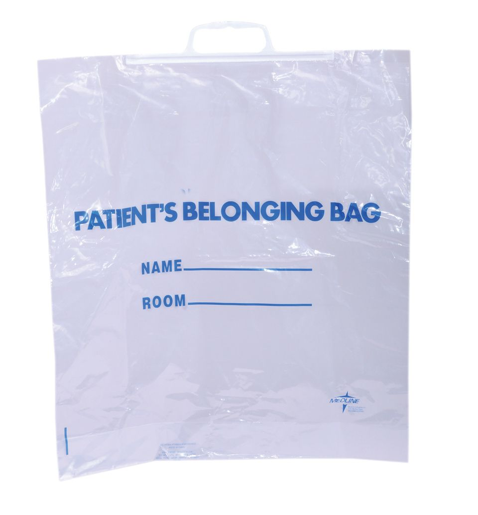 Medline Rigid Handle Plastic Bag - Pateint Belonging, Clear, Box of 250 - Model NON02634015