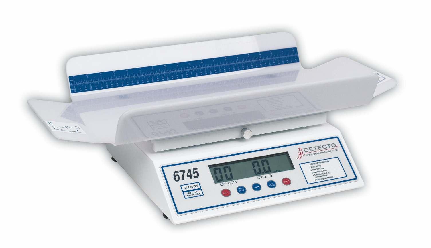 Cardinal Scale Digital Baby Scale - 30Lb/15Kg, Ruler, Each - Model 6745
