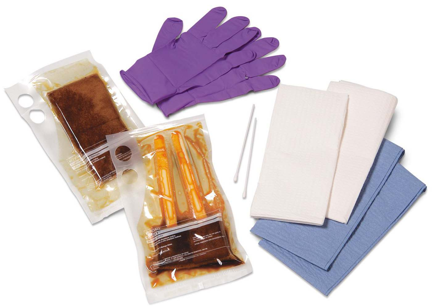 Curity Skin Scrub Sponge Stick - Pack, Skin Prep, Gloves, 2 Sponges, Pvp, Box of 20 - Model 41535