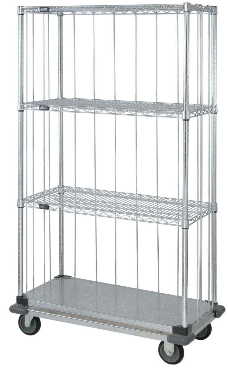 Dolly Based 3 Sided Wire Shelf Cart - Enclosed, 24X48X70, 3Wir/1Sld ...
