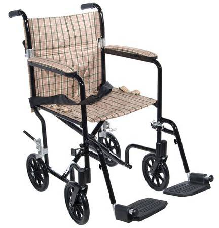 Drive Medical Fly-Weight Wheelchair Transport, Each - Model FW17BG