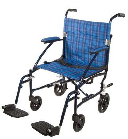 Drive Medical Fly-Lite Wheelchair Transport, Each - Model DFL19-BL