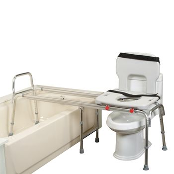 Eagle Health XL Toilet to Tub Transfer Bench w/ Cut-Out Seat - Eagle Health XX Long Toilet to Tub Transfer Bench w/ Cut-Out Seat